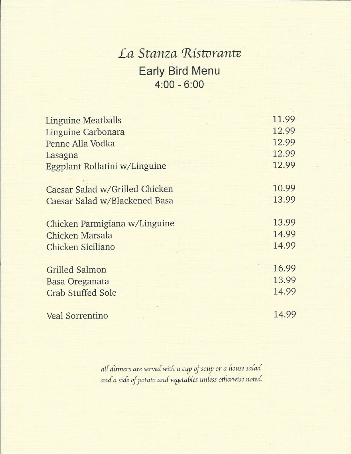 La Stanza's Early Bird Menu